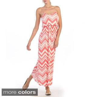Hadari Women's Sleeveless Chevron Cinched Waist Maxi Dres