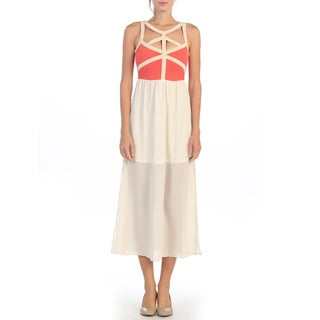Hadari Women's Coral/ Ivory Cut-out Maxi Dress