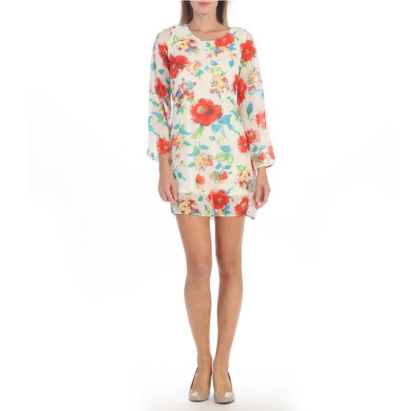 Hadari Women's Floral 3/4-length Sleeve Mini Shift Dress