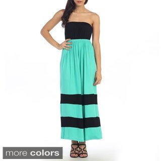 Hadari Women's Double Stripe Strapless Maxi Dress