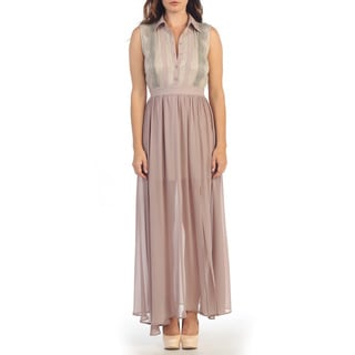 Hadari Women's Taupe Lace Button-up Maxi Dress