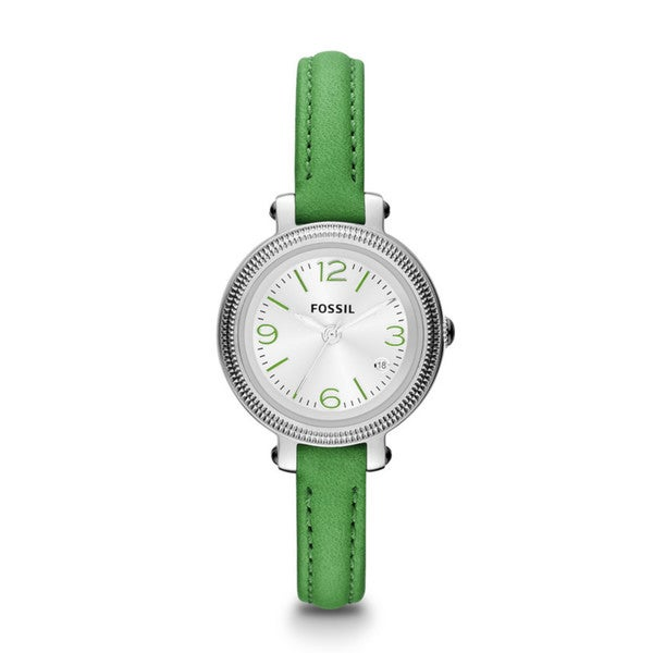 Fossil Women's 'Heather' ES3303 Lime Green Leather Skinny Strap Watch