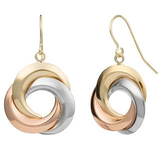 Fremada 10 Karat Tri-color Gold Love Knot Drop Earrings