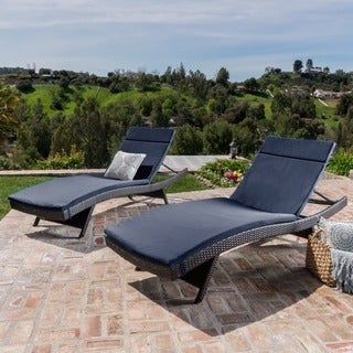 Christopher Knight Home Outdoor Brown Wicker Adjustable Chaise Lounge with Cushion (Set of 2)