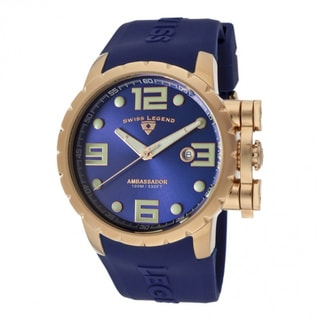 Swiss Legend Men's 'Ambassador' Blue Silicone Watch