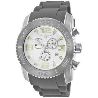 Swiss Legend Men's 'Commander' Silvertone Silicone Watch