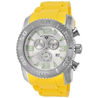 Swiss Legend Men's 'Commander' Yellow Silicone Watch