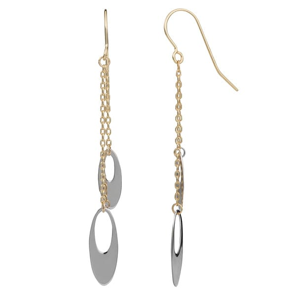 Fremada 10k Two-tone Gold Oval Discs Dangle Earrings