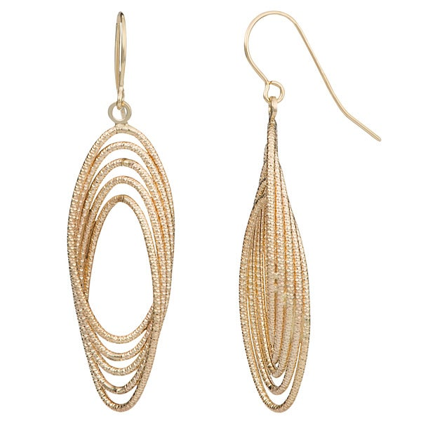 Fremada 10k Yellow Gold Diamond-cut Twist Ovals Drop Earrings
