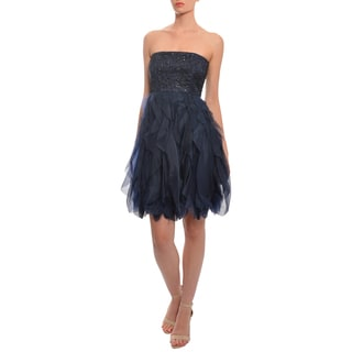 Alice + Olivia Women's 'Felicity' Navy Silk Cascading Ruffle Beaded Party Dress