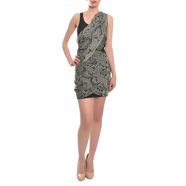 Women's Black & Grey Python Print Chiffon Stretch Cocktail Evening Dress