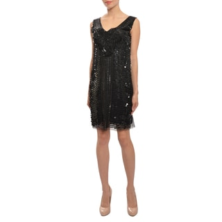 Alberta Ferretti Women's Glitzy Sequin Black Evening Party Dress