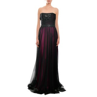Badgley Mischka Jeweled Black/ Pink Strapless Evening Gown