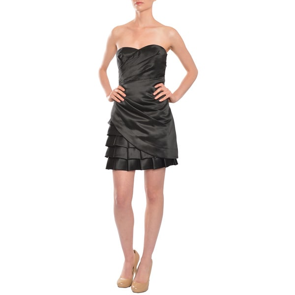 Calvin Klein Women's Black Satin Strapless Sweetheart Cocktail Evening LBD Dress