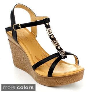Cherish Women's BABAR-1 Ankle Strap Wedge Sandals