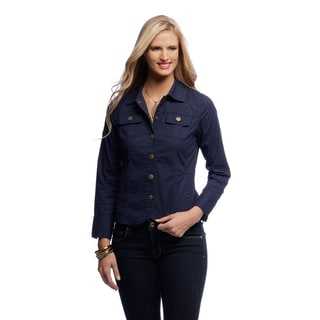 Women's Navy Denim Snap Front Jacket