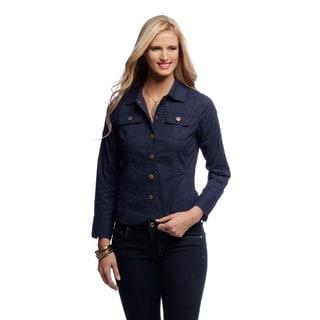 Women's Navy Denim Snap Front Jacket