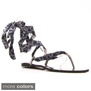 Nvy Women's 'Precious' Ribbon-laced Flat Sandals