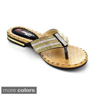 DBDK Women's Larinn-3 Rhinestone Flip-flop Sandals