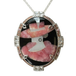 """Michael Valitutti Two-tone Rhodocrosite, Mother of Pearl and Black Onyx Inlay and Pink Sapphire and Rock Crystal """"Lady"""" Necklace"""