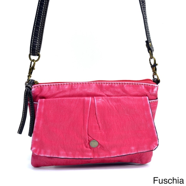 Distressed Front-pocket Shoulder Bag