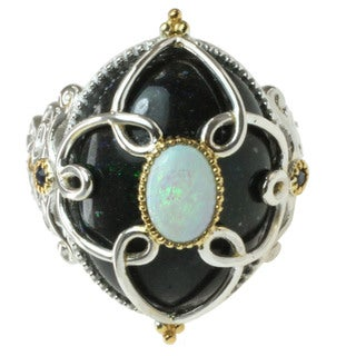 Michael Valitutti Two-tone Black and White Opal and Blue Sapphire Ring