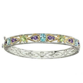 Michael Valitutti Two-tone Blue Zircon, Peridot and Amethyst Bracelet
