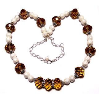 Amber Crystal and White Moonscape Crystal Pearl 4-piece Jewelry Set