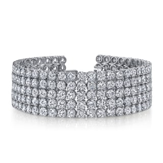14k White Gold 41ct TDW Pave Diamond Tennis Bracelet (F-G, SI2-SI3)