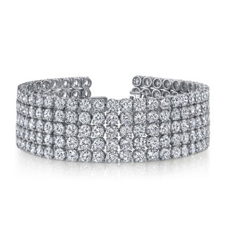 14k White Gold 41ct TDW 5-Row Pave Diamond Tennis Bracelet (F-G, SI2-SI3)
