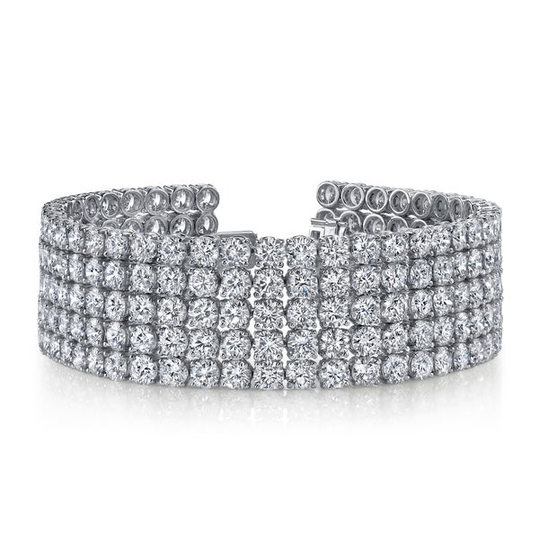 14k White Gold 41ct TDW Pave Diamond Tennis Bracelet (F-G, SI2-SI3)