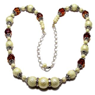 Cream Moonscape Crystal Pearl and Topaz Crystal 4-piece Jewelry Set