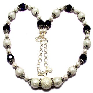 Dark Plum Purple Crystals and White Moonscape Crystal Pearl 4-piece Jewelry Set