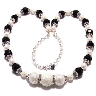 Jet Black Crystal and White Moonscape Crystal Pearl 4-piece Jewelry Set