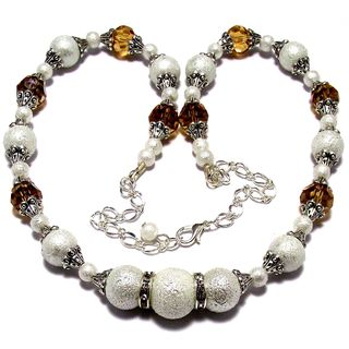 Light Topaz Crystals and White Moonscape Crystal Pearl 4-piece Jewelry Set