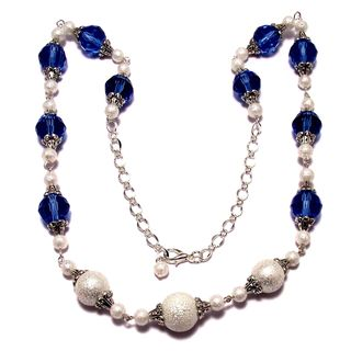 Light Sapphire Crystal and White Moonscape Crystal Pearl 4-piece Jewelry Set