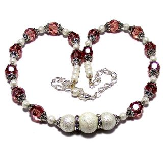 Medium Pink Crystal and White Moonscape Pearl 4-piece Jewelry Set