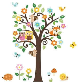 Giant Peel & Stick Nursery Decal - Forest Animals and Flowers Tree for Boys and Girls