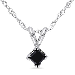 Miadora 14k White Gold 1/4ct TDW Black Diamond Solitaire Necklace