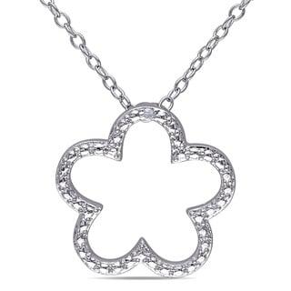 Haylee Jewels Sterling Silver Diamond Flower Necklace (H-I, I2-I3)