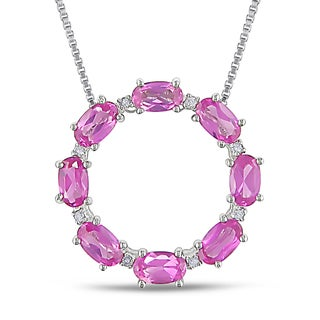 Miadora Silver Created Pink Sapphire and Diamond Accent Necklace