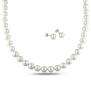 Miadora Sterling Silver 2-pc Set of White Cultured Freshwater Pearl Necklace and Earrings (9-11 mm)