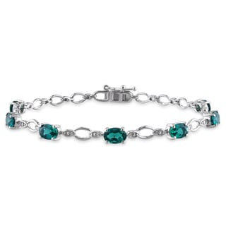 Miadora Sterling Silver Created Emerald and Diamond Bracelet