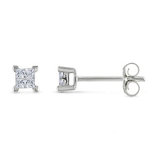 Miadora 10k White Gold 1/6ct TDW Diamond Stud Earrings (J-K, I2-I3)