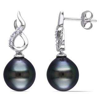 Miadora 10k White Gold Tahitian Pearl and 1/10ct TDW Diamond Earrings (H-I, I2-I3) (9-9.5 mm)