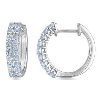 Miadora Sterling Silver Blue Topaz Hoop Earrings