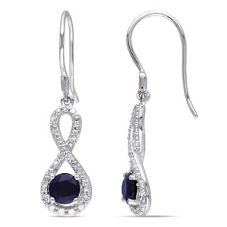 Miadora 10k White Gold Created Blue sapphire and 1/10ct TDW Diamond Earrings (H-I, I2-I3)