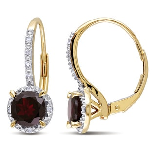 Miadora 10k Yellow Gold 2ct TGW Garnet and Diamond Accent Dangle Earrings