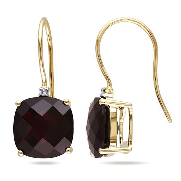 Miadora 10k Yellow Gold Garnet and Diamond Accent Dangle Earrings