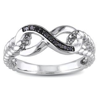 Miadora 10k White Gold Black Diamond Accent Infinity Ring